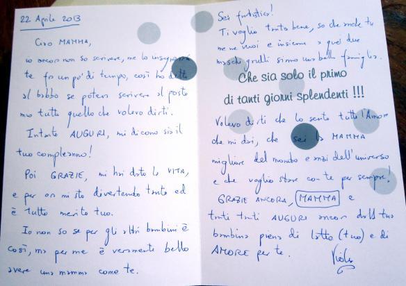 22.4.2013auguri di Viola scritti dal suo babbo