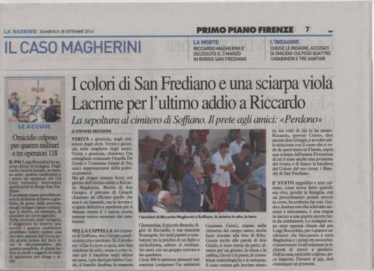 Riccardo Magherini sepoltura articolo Nazione