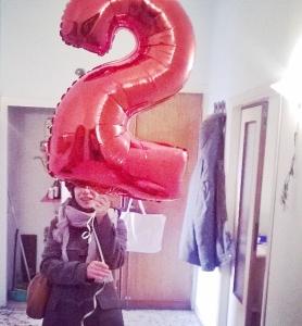 7 con palloncino 2 anni per domani
