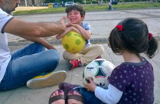 10 maggio 2015 in piazzetta con Pietro, Bernardo e Viola
