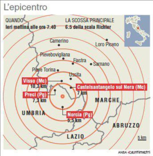 Cartina con epicentro della scossa di questa mattina di magnitudo 6.5 e localizzazione dei Comuni più vicini (88mm x 90mm)